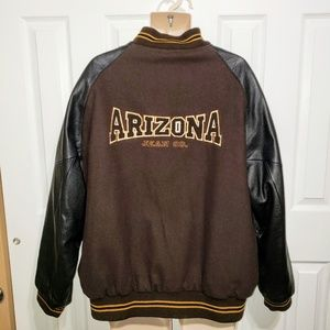 Vtg Arizona Jeans Jacket XXL Brown Wool Leather
